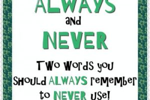 Always and Never - Two words you should always remember to never use!